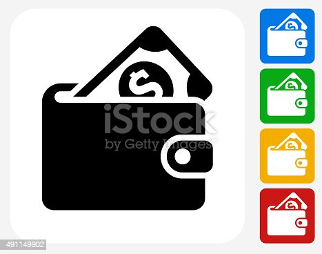 Money Wallet Icon. This 100% royalty free vector illustration features the main icon pictured in black inside a white square. The alternative color options in blue, green, yellow and red are on the right of the icon and are arranged in a vertical column.