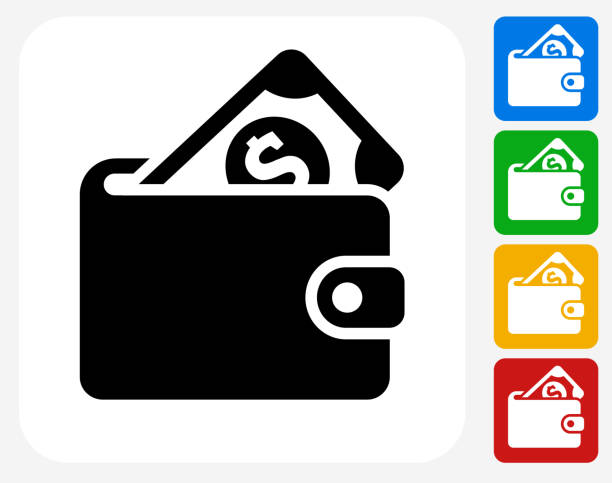 Money Wallet Icon Flat Graphic Design Money Wallet Icon. This 100% royalty free vector illustration features the main icon pictured in black inside a white square. The alternative color options in blue, green, yellow and red are on the right of the icon and are arranged in a vertical column. wallet stock illustrations