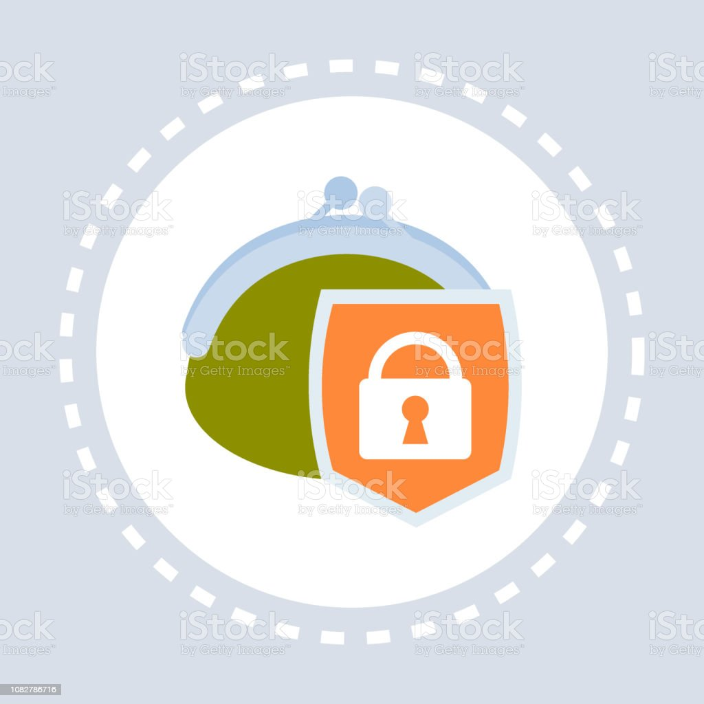 money wallet shield icon financial secure finance protection concept flat isolated