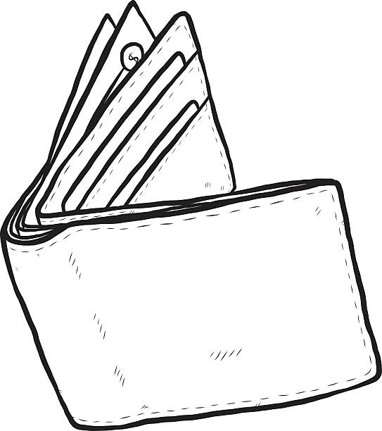 Line Drawing Money : Royalty free open wallet clip art vector images