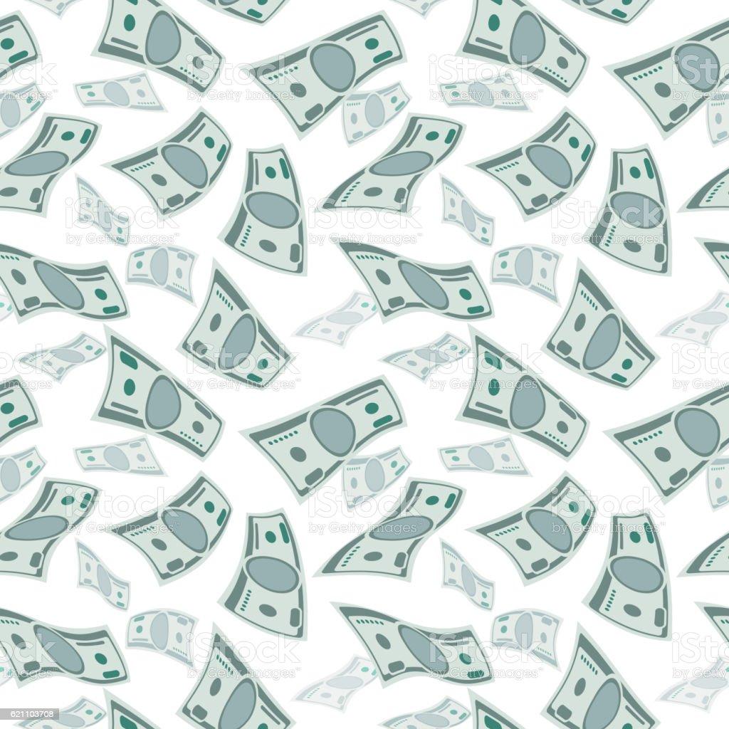 Money Wind Stream Paper Cash Tornado Finance Concept Seamless Flying