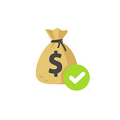 Money with approved checkmark vector icon, flat money bag with tick, concept or confirmed transaction or cash transfer, accepted credit or loan, earning received, send or lend money isolated symbol