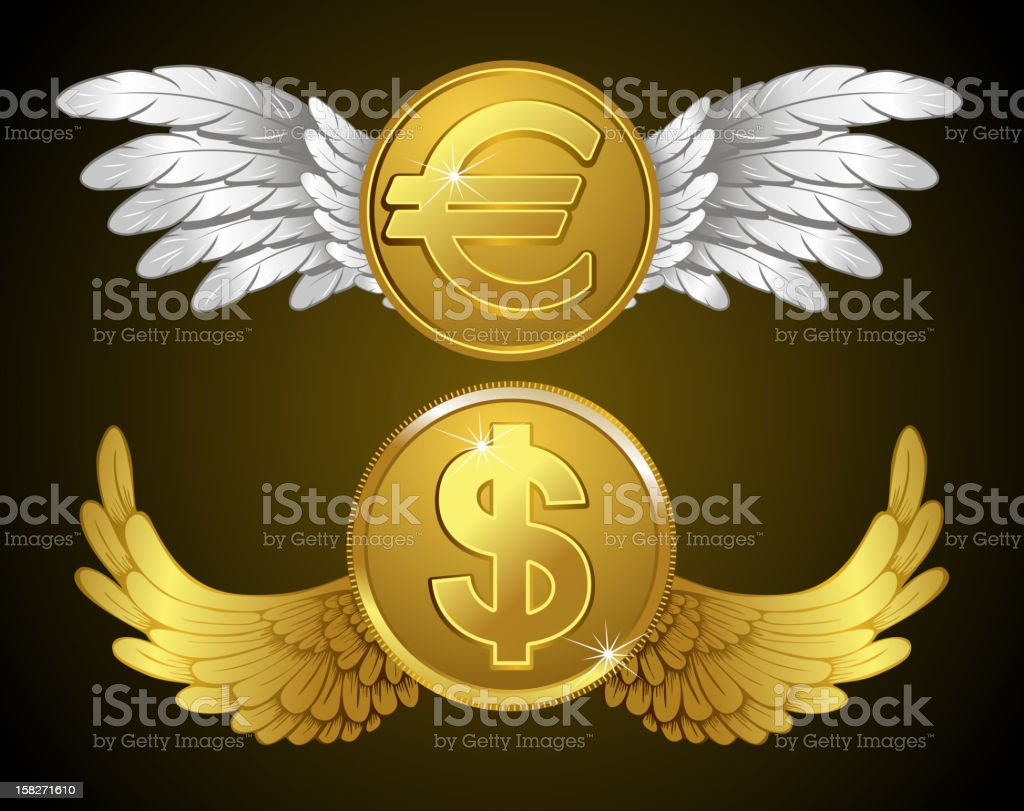 money with wings royalty-free stock vector art