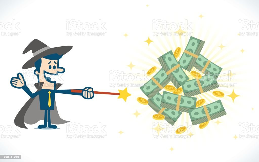 Money wizard vector art illustration
