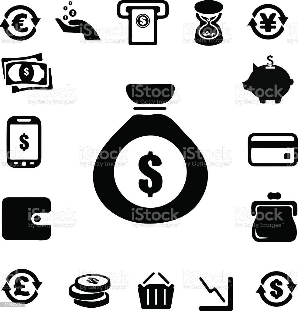 Moneyand Banking icon vector art illustration