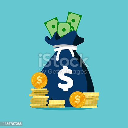 Money bag flat icon. Moneybag simple cartoon infographics isolated on blue background. Money case with US dollar sign. Vector illustration.