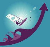 Vector illustration - Jump with moneysurfer