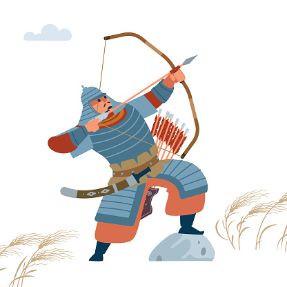 Mongol warrior archer with arrow and bow. Isolated vector flat illustration.