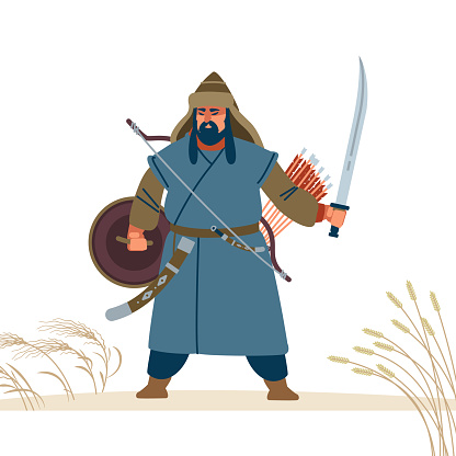 Mongol warrior character. Medieval battle illustration. Historical illustration. Isolated vector flat illustration.