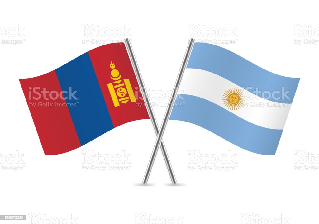 Mongolia and Argentina flags. Vector illustration. vector art illustration