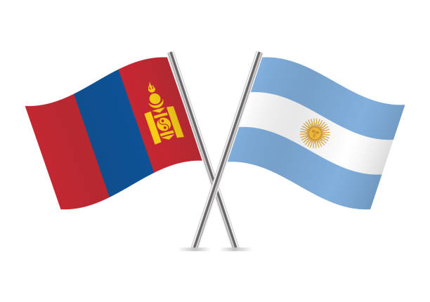 mongolia and argentina flags. vector illustration. - argentina flag stock illustrations, clip art, cartoons, & icons