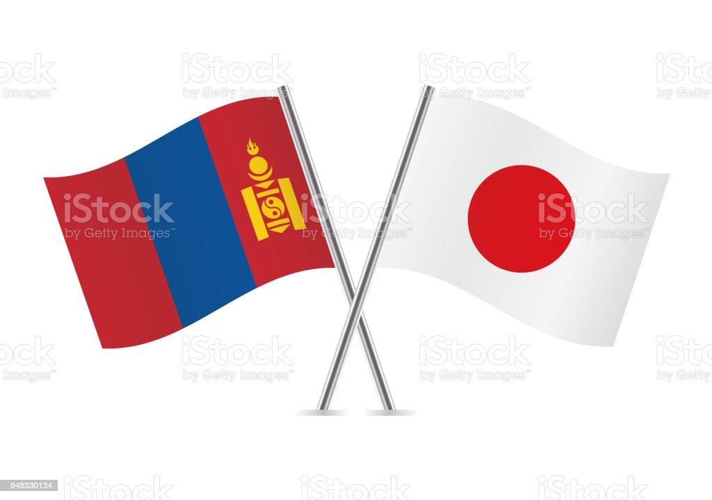 Banderas de Mongolia y Japón. Ilustración de vector. - ilustración de arte vectorial