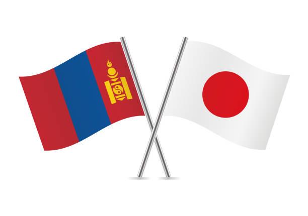 ilustraciones, imágenes clip art, dibujos animados e iconos de stock de banderas de mongolia y japón. ilustración de vector. - bandera japonesa