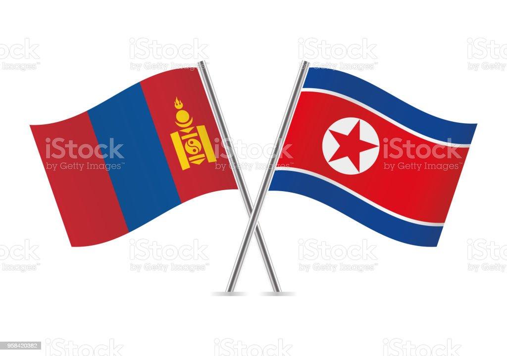 Mongolia and North Korea flags. Vector illustration. vector art illustration