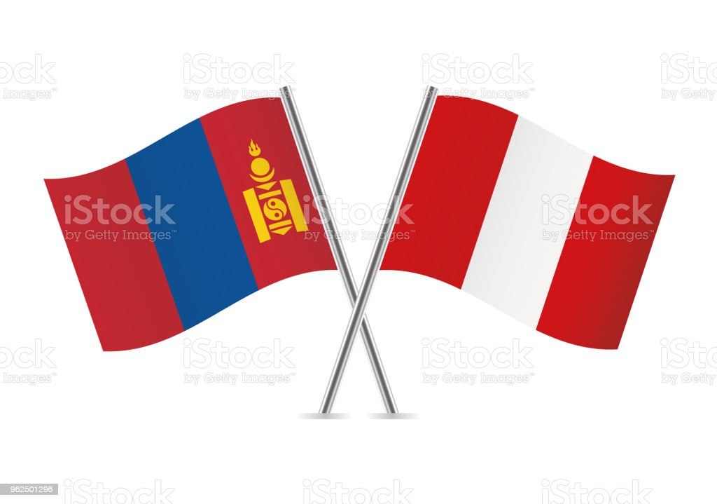 Mongolia and Peru flags. Vector illustration. - Royalty-free Couple - Relationship stock vector