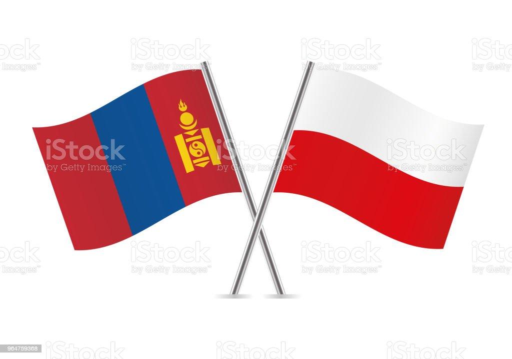 Banderas de Mongolia y Polonia. Ilustración de vector. - ilustración de arte vectorial