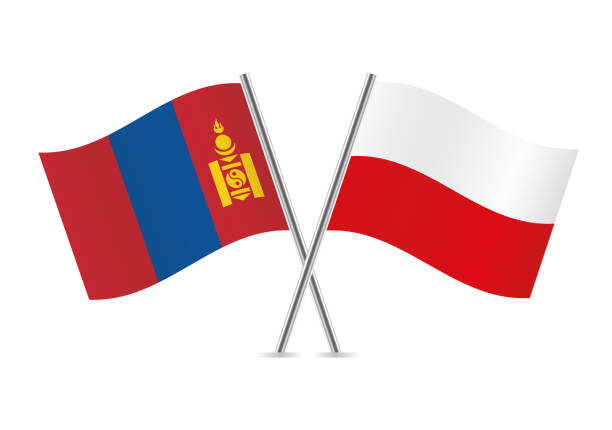 mongolia and poland flags. vector illustration. - polish flag stock illustrations, clip art, cartoons, & icons