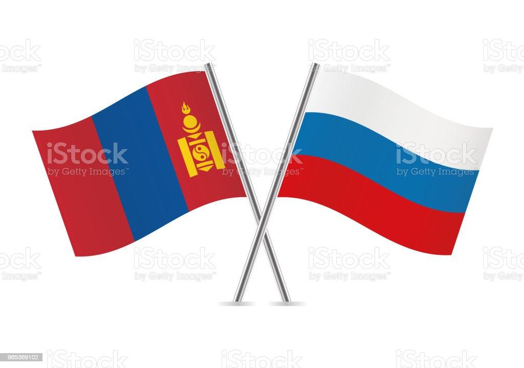 Mongolia and Russia flags. Vector illustration. mongolia and russia flags vector illustration - stockowe grafiki wektorowe i więcej obrazów białe tło royalty-free