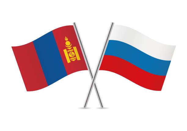 ilustraciones, imágenes clip art, dibujos animados e iconos de stock de banderas de mongolia y rusia. ilustración de vector. - bandera rusa