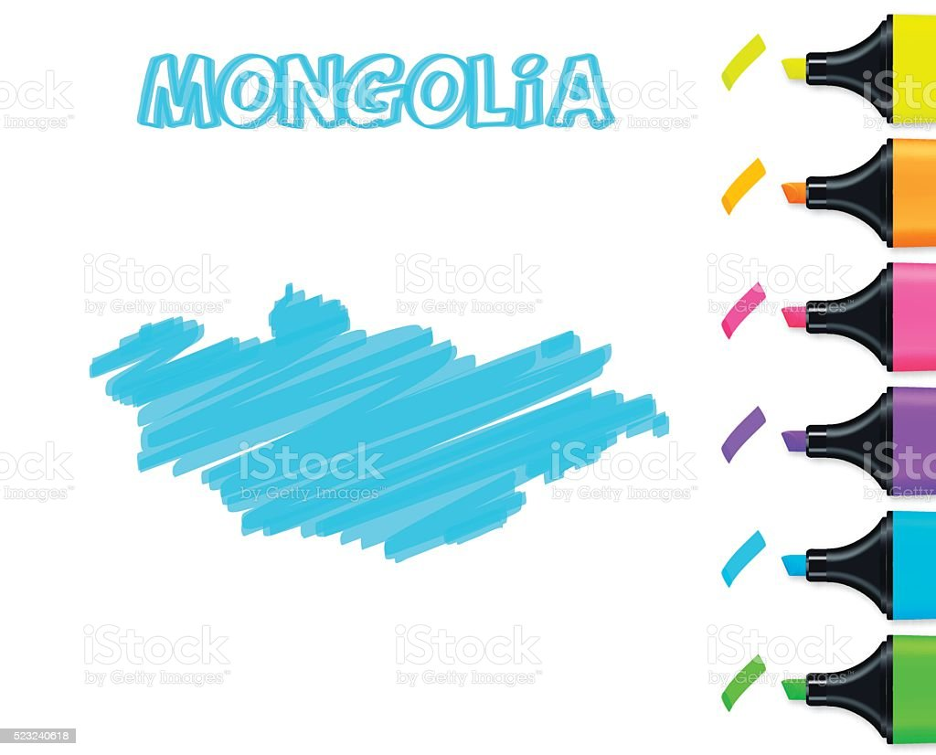 Mongolia Map Hand Drawn On White Background Blue Highlighter Stock - Mongolia map vector