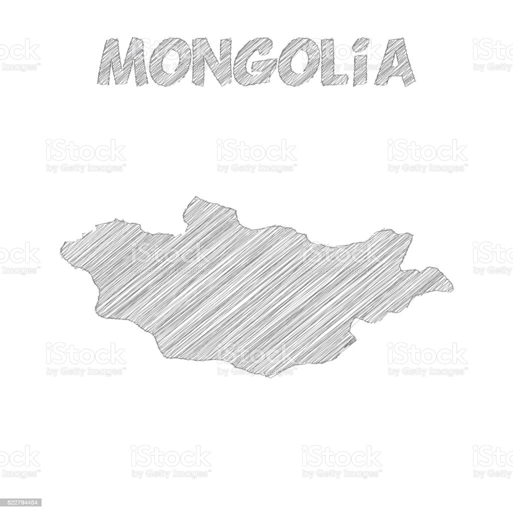 Mongolia Map Hand Drawn On White Background Stock Vector Art - Mongolia map vector