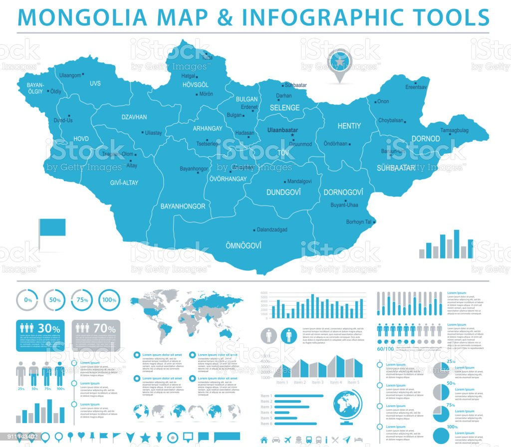 Mongolia Map Info Graphic Vector Illustration Stock