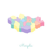 Mongolia region map: colorful isometric top view.
