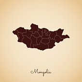 Mongolia region map: retro style brown outline on old paper background.