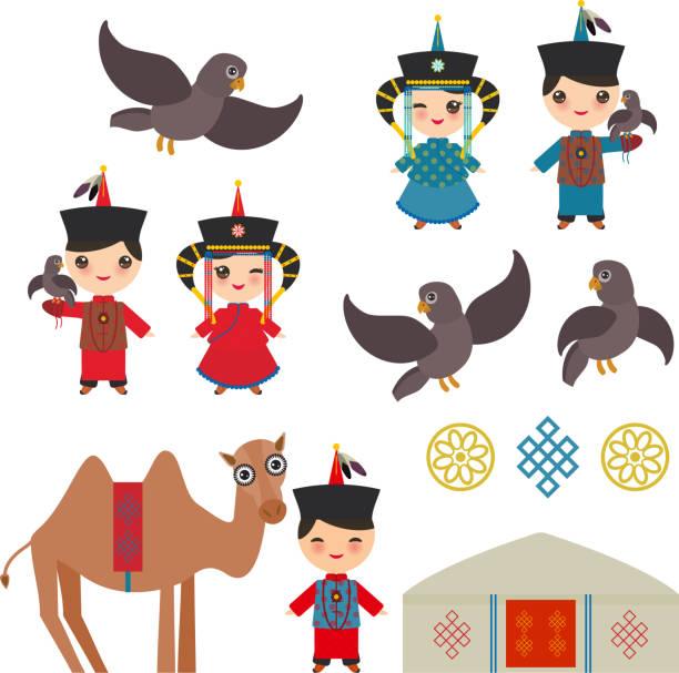 stockillustraties, clipart, cartoons en iconen met mongoolse jongen en meisje klederdracht. cartoon kinderen in traditionele kleding. hunter, jacht met een adelaar, kameel, traditionele woningen, zoals de yurt en de tent. vector - altai nature reserve