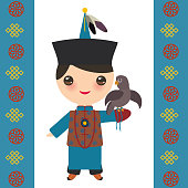 Mongolian boy in national costume and hat. Cartoon children in traditional dress. Hunter, hunting with an eagle. Card banner template, blue Mongolian ornament. Vector