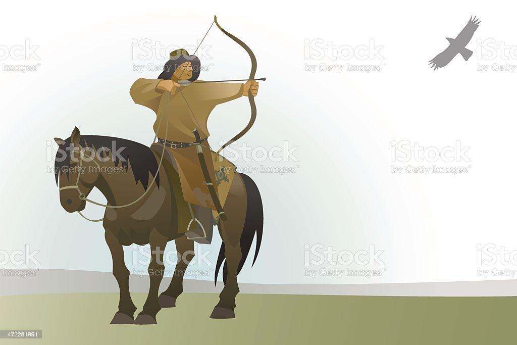 Mongolian nomad vector art illustration