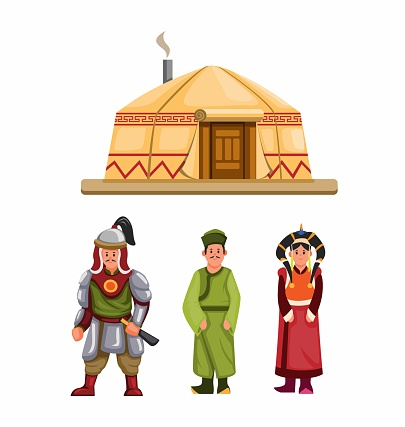 Mongolian traditional clothes and building character set in cartoon illustration vector
