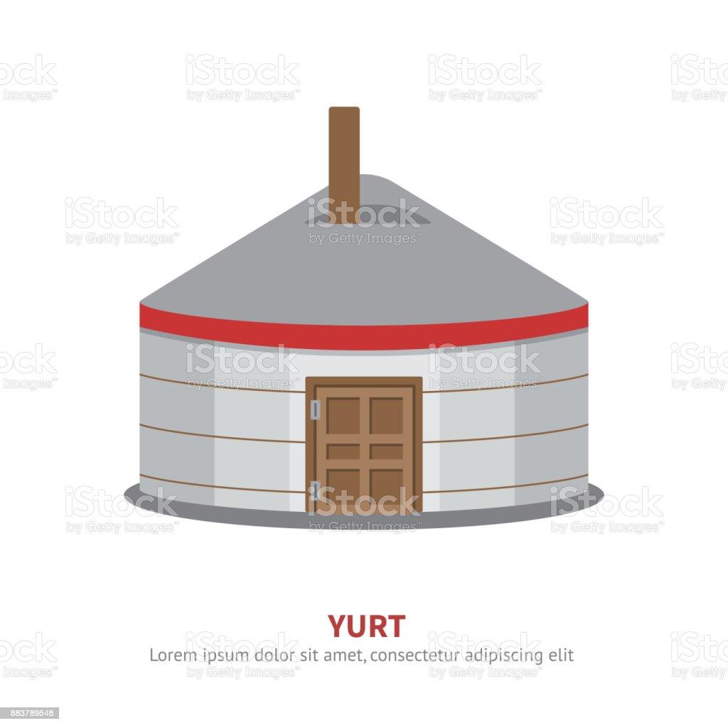 Mongolian Yurt icon vector Illustration. vector art illustration