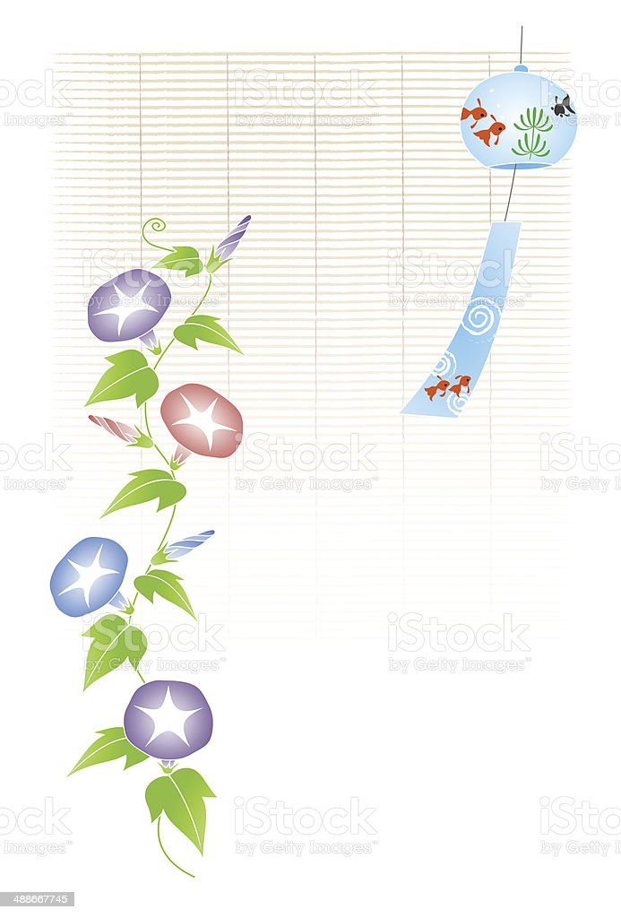 Moning glory and a bamboo blind, wind chime vector art illustration