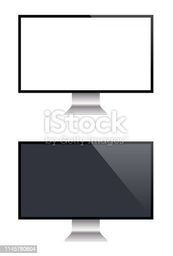 istock PC Monitor And Flat Screen TV, Realistic Vector Illustration 1145780804