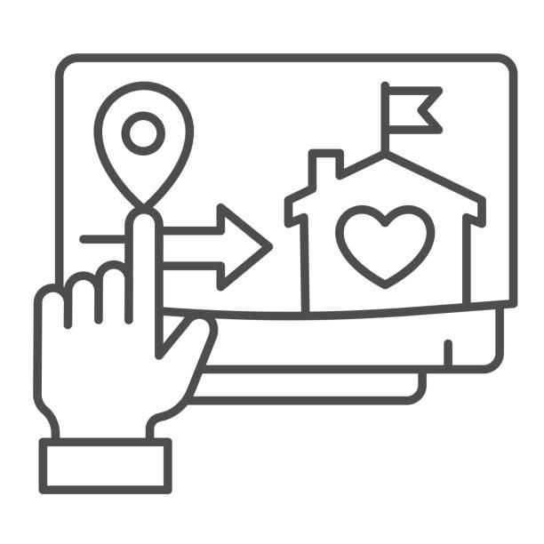illustrazioni stock, clip art, cartoni animati e icone di tendenza di icona della linea sottile del monitor e del puntatore a mano, simbolo della casa intelligente, consegna remota del segno vettoriale della merce su sfondo bianco, visualizzazione con icona del pin della mappa della costruzione e della posizione nel contorno - grocery home