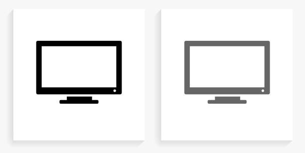 Monitor Black and White Square Icon vector art illustration