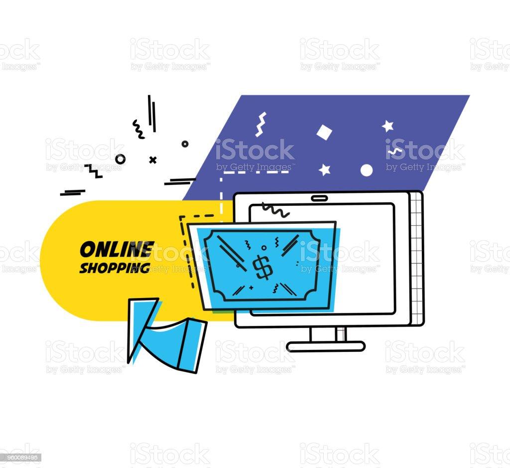 monitor de ordenador con las compras en línea concepto - ilustración de arte vectorial