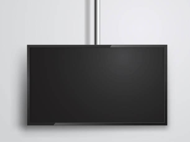 ilustrações de stock, clip art, desenhos animados e ícones de tv monitor hanging on tube, technology and media - led painel
