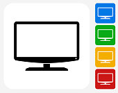 Monitor Icon. This 100% royalty free vector illustration features the main icon pictured in black inside a white square. The alternative color options in blue, green, yellow and red are on the right of the icon and are arranged in a vertical column.