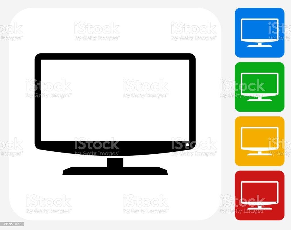 Monitor Icon Flat Graphic Design vector art illustration