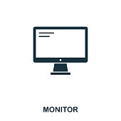 Monitor icon. Line style icon design. UI. Illustration of monitor icon. Pictogram isolated on white. Ready to use in web design, apps, software, print.