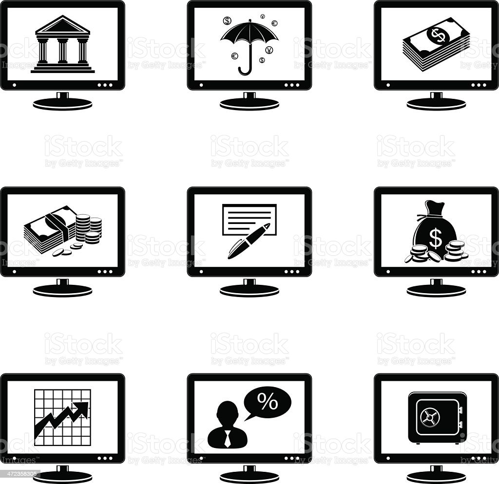 Monitor icons with banking signs royalty-free stock vector art