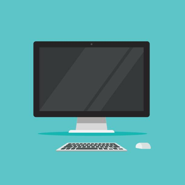 Monitor keyboard and mouse vector illustration isolated on color background flat cartoon, idea of computer workplace, working table, work desk with pc Monitor keyboard and mouse vector illustration isolated on color background flat cartoon style, idea of computer workplace, working table, work desk with pc desktop pc stock illustrations