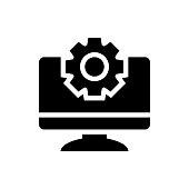 Monitor Settings Vector Icon Glyph Illustration.