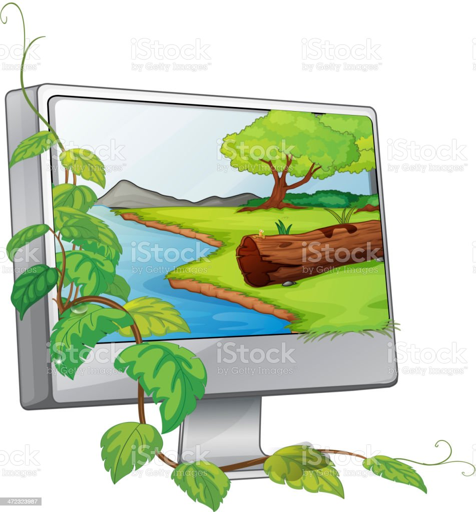 Monitor showing a river in forest royalty-free stock vector art