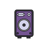 Monitor, speaker, music icon. Element of color music studio equipment icon. Premium quality graphic design icon. Signs and symbols collection icon