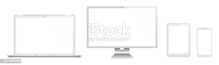 istock PC Monitor, TV, Laptop, Tablet, Smartphone, Mobile Phone In Silver Color With Reflection, Realistic Vector Illustration 1201393046