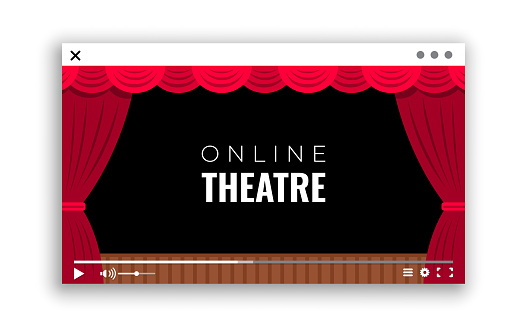 A monitor window with online video broadcast of the performance from the theater