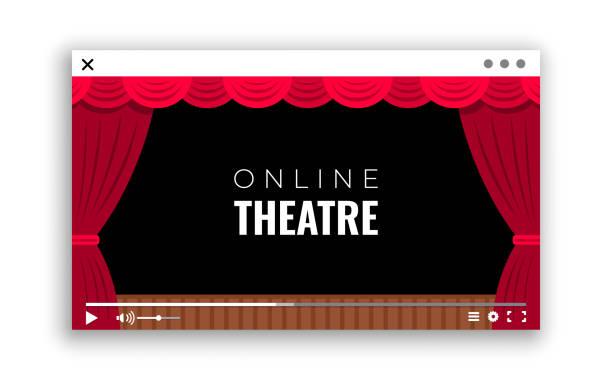 ein monitorfenster mit online-videoübertragung der aufführung aus dem theater - smartphone mit corona app stock-grafiken, -clipart, -cartoons und -symbole